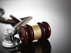Gavel and stethoscope; photo illustration by DNY59 / www.pbs.org.
