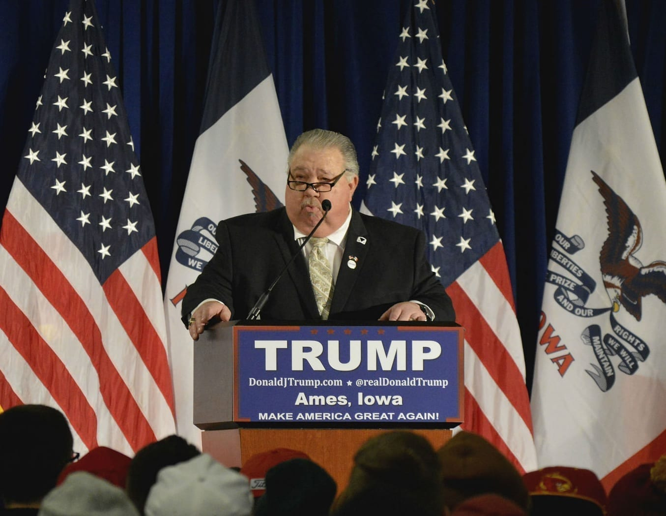 Sam Clovis speaking at a Trump campaign rally in Ames, Iowa.