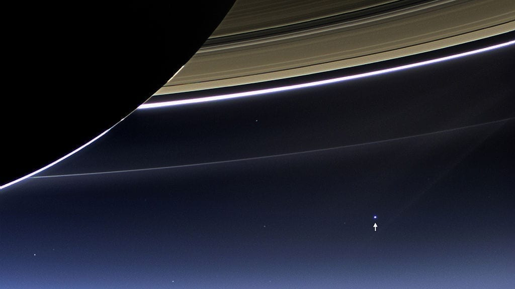 Earth as seen from Saturn, in a photo taken on July 19, 2013 by the Cassini orbiter.