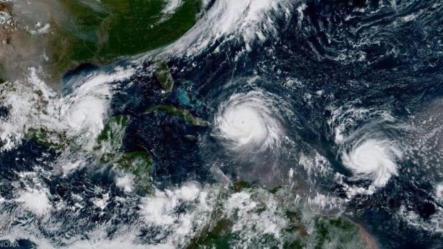 A rare image of three hurricanes threatening land in North America simultaneously: Katia, Irma, and Jose.