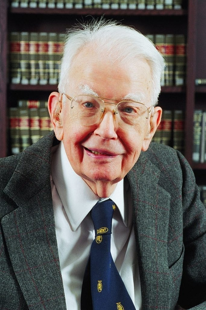 Ronald Coase profile photo in 2003.