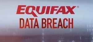 Sign with the words 'Equifax Data Breach' in red