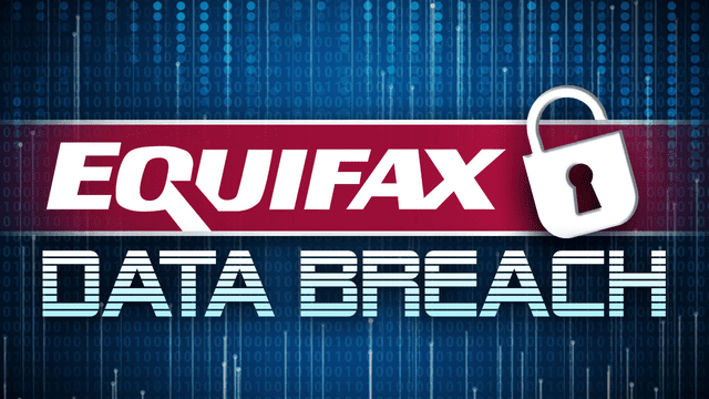 Image of the Equifax logo above the words 'Data Breach'