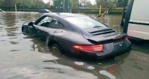 A flooded Porsche; image courtesy of EvLSkillZ on Facebook.