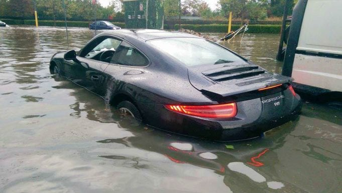 A flooded Porsche; image courtesy of EvLSkillZ on Facebook.