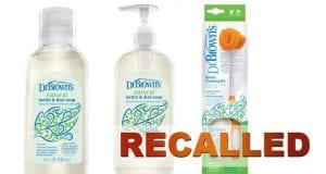 Image of the Recalled Dr. Brown Natural Bottle and Dish Soap