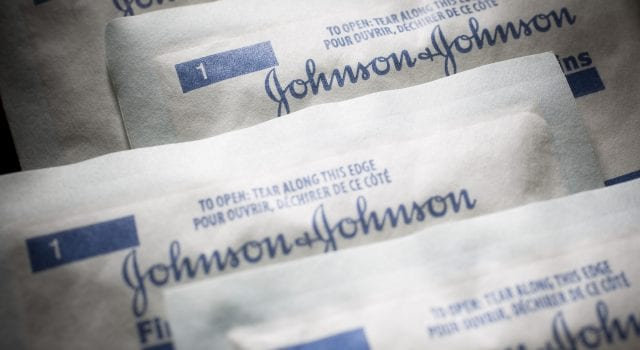 Johnson & Johnson packaging; image courtesy of Scott Eells/Bloomberg.