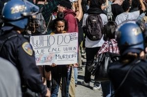 Black Lives Matter protest in San Francisco; image courtesy of Michelle Ursino, via Flickr, CC BY-SA 2.0, no changes made.