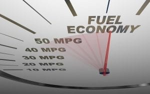 The words Fuel Economy on a vehicle speedometer with a red needle racing past numbers 10, 20, 30, 40, 50 MPG as the automobile achieves an improved efficiency. Image courtesy of www.gobytrucknews.com.