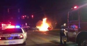 The vehicle fire that claimed Vicki Hill's life; image courtesy of www.news5cleveland.com.