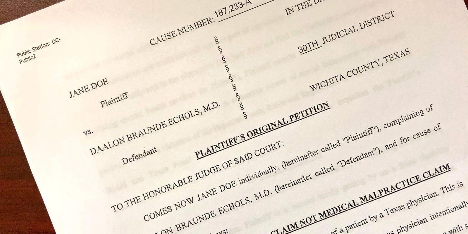 Image of the Lawsuit Against Dr. Echols