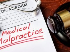 Image of a form with the words 'Medical Malpractice'