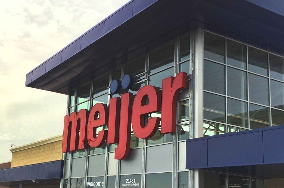 Image of the outside of a Meijer store