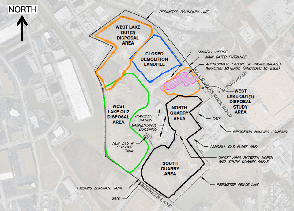 A bird's-eye diagram of the West Lake landfill complex.