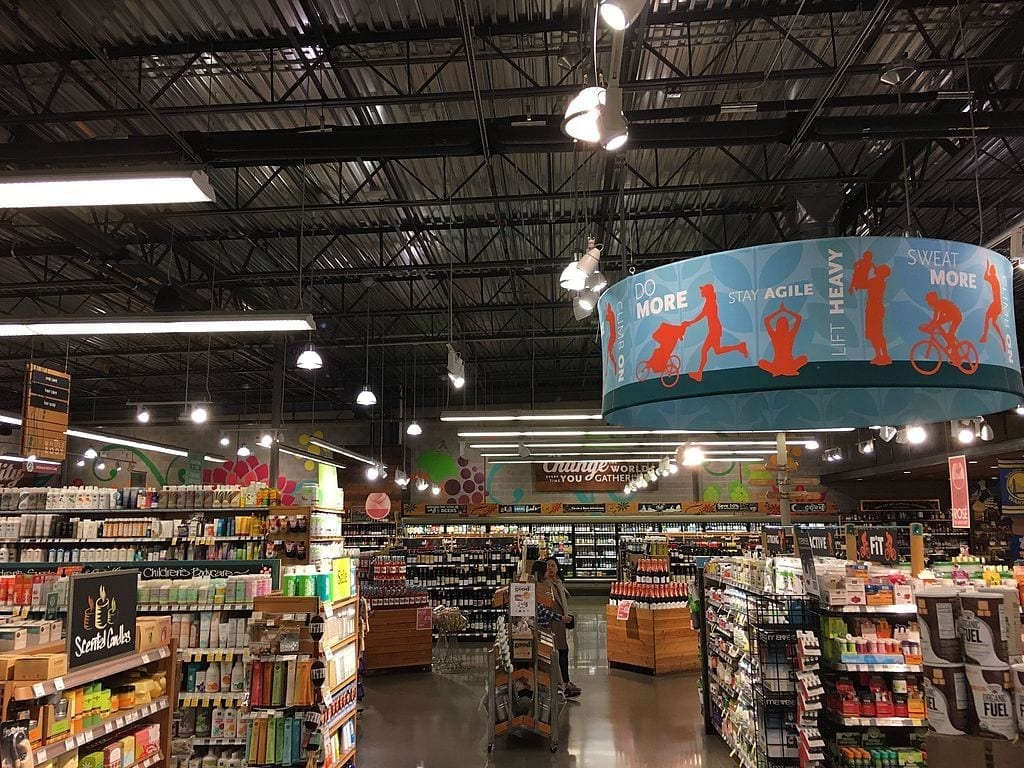 Whole Foods Market interior shot; photo by FASTILY (Own work), CC BY-SA 4.0, via Wikimedia Commons, no changes made.