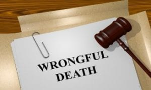 Image of a piece of paper withe words 'Wrongful Death' in black
