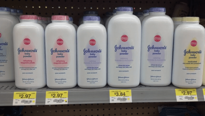 Johnson & Johnson Baby Powder on a store shelf; image courtesy of www.healthyfoodhouse.com.