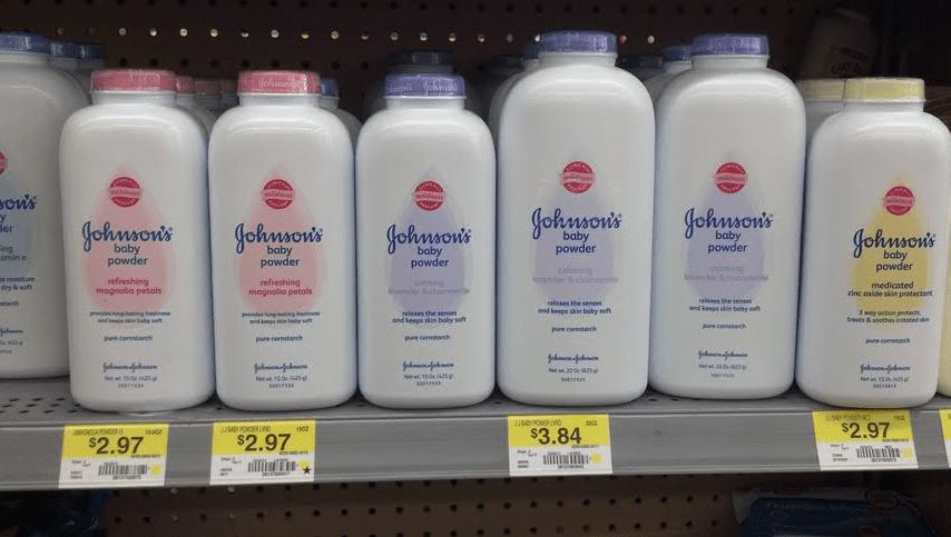 Johnson & Johnson Baby Powder on a store shelf; image courtesy of www.healthyfoodhouse.com.