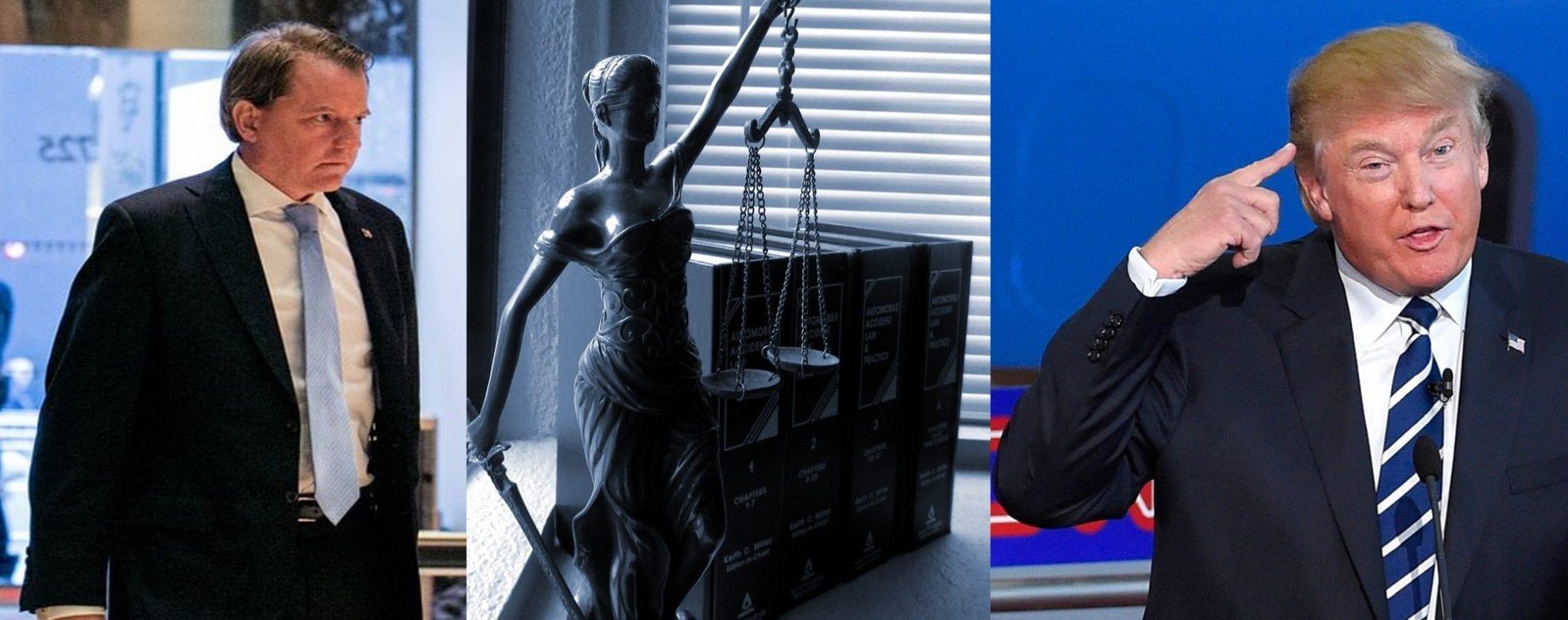 Images: McGahn - Sam Hodgson for www.nytimes.com; Lady Justice - jessica45 www.pixabay. com, CC0 Creative Commons; Trump - Mark J. Terrill, AP.