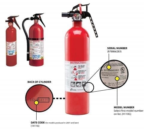 Image of the Recalled Kidde Fire Extinguishers