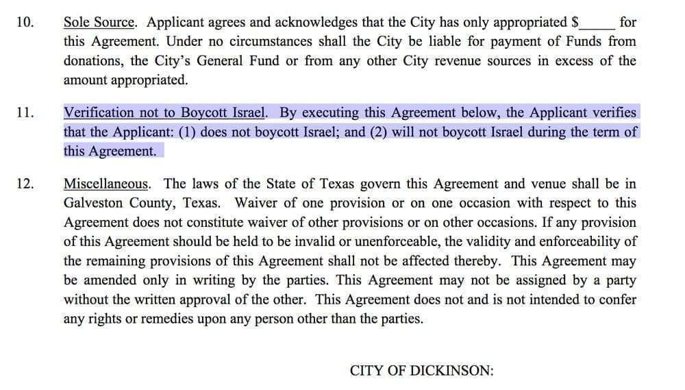 Israel boycott clause; image courtesy www.theintercept.com.