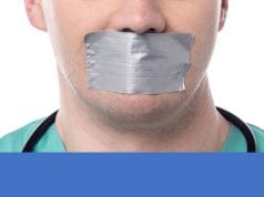 Doctor with mouth taped shut; image courtesy of www.nutritionsquared.com.