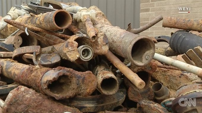 Corroded lead water pipes from Flint, Michigan.