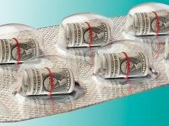 Blister pack of dollars instead of medicine; image courtesy of www.renegadetribune.com.