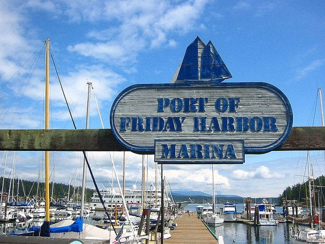 Image of the Port of Friday Harbor Welcome Sign