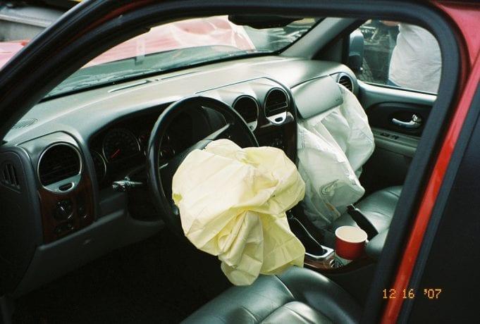 Airbag deployment; image courtesy of Adam Bartlett/Flickr, via CC by 2.0.