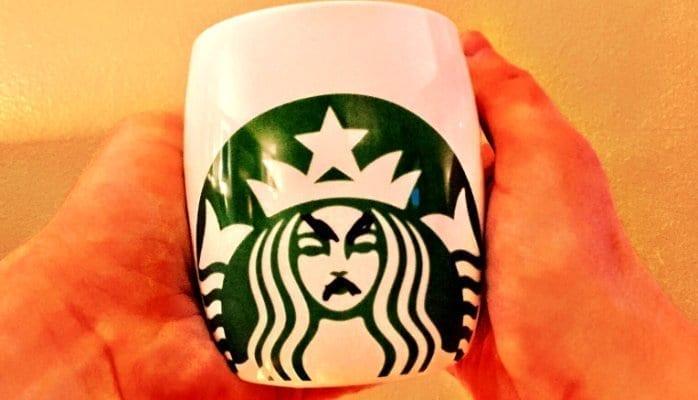 Angry expression on Starbucks mug; image courtesy www.maritzmotivation.com.