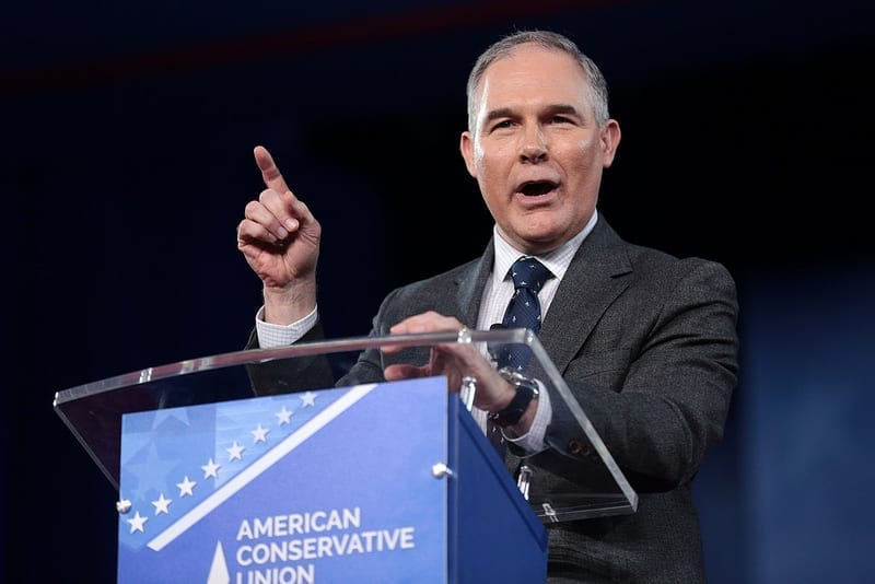 "EPA head Scott Pruitt speaking at a podium, which reads, ""American Conservative Union."""