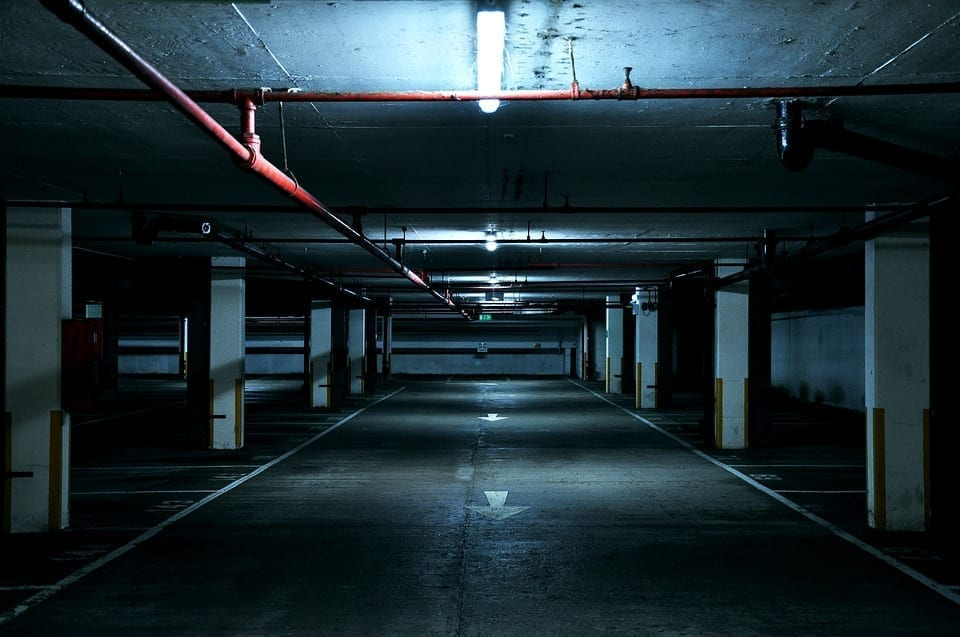 Image of a dark parking garage