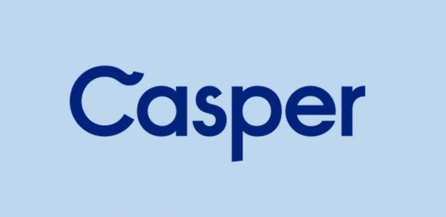 Casper Logo by Casper Sleep via Wikimedia Commons CC by 2.0, blue background added.