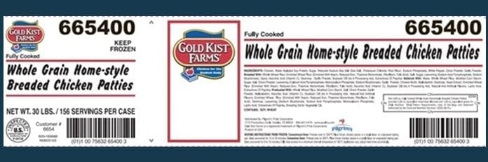 Image of the Recalled Chicken Patty Label