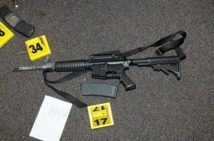 Bushmaster XM15-E2S used in Sandy Hook shootings; image courtesy Newtown Police, via Wikimedia Commons, CC0 1.0.