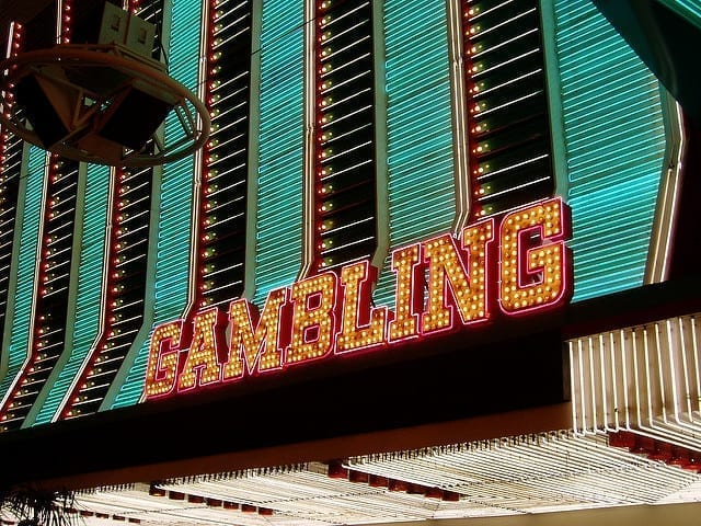 Gambling marquee; image by Joel Kramer, via Flickr, CC BY 2.0, no changes.