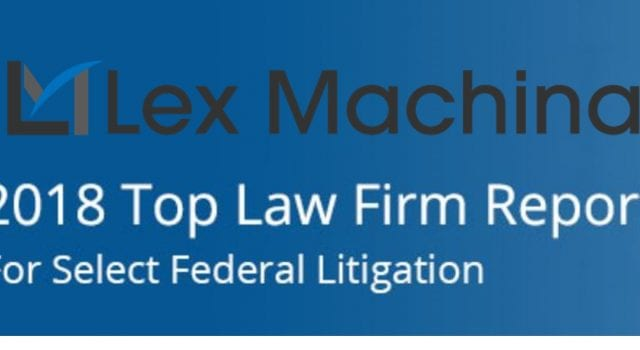 Lex Machina 2018 Top Law Firm Report for Select Federal Litigation; images courtesy of Lex Machina, combined by author.