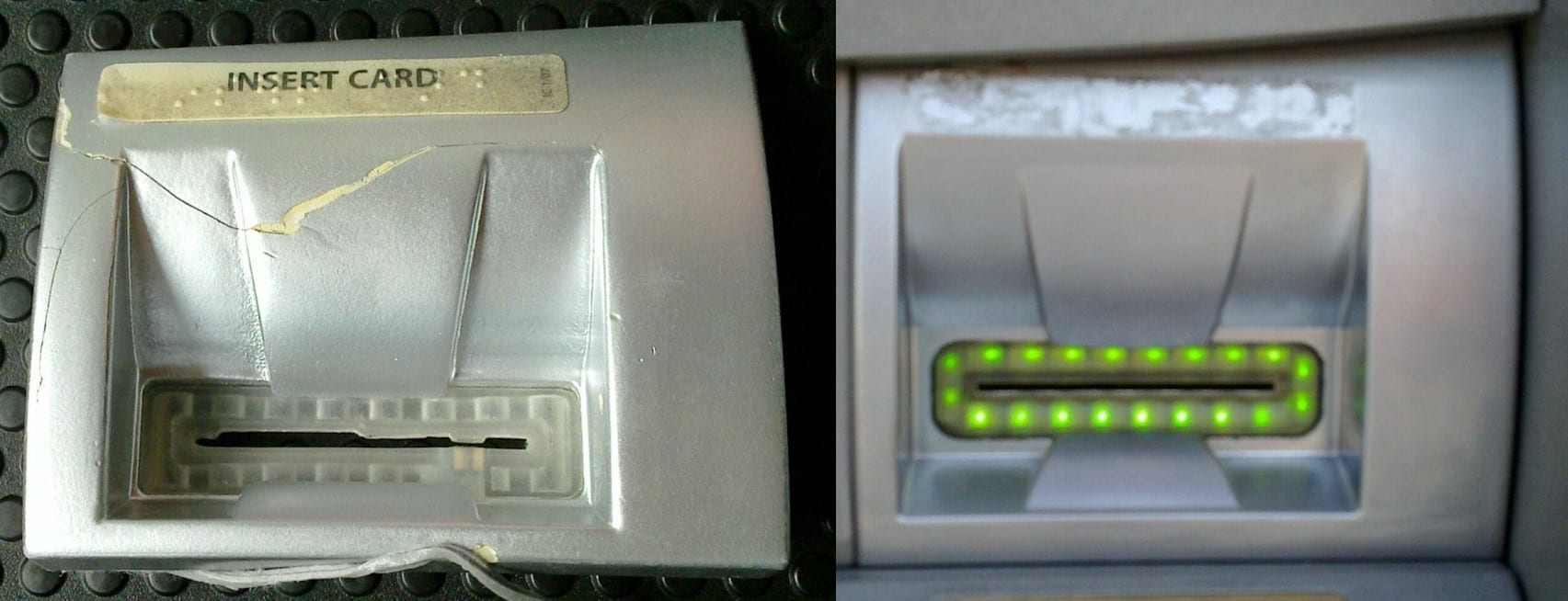 Skimmer on (left) and off (right); images 2.1 Front Overview of Skimmer (left) and 1.2 ATM Card Reader Slot, courtesy Aaron Poffenberger; via Flickr, CC BY 2.0, joined two images into one.