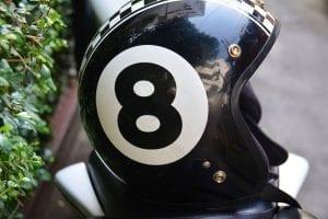 Lucky 8 motorcycle helmet; photo by terimakasih0, via Pixabay.com, CC0.