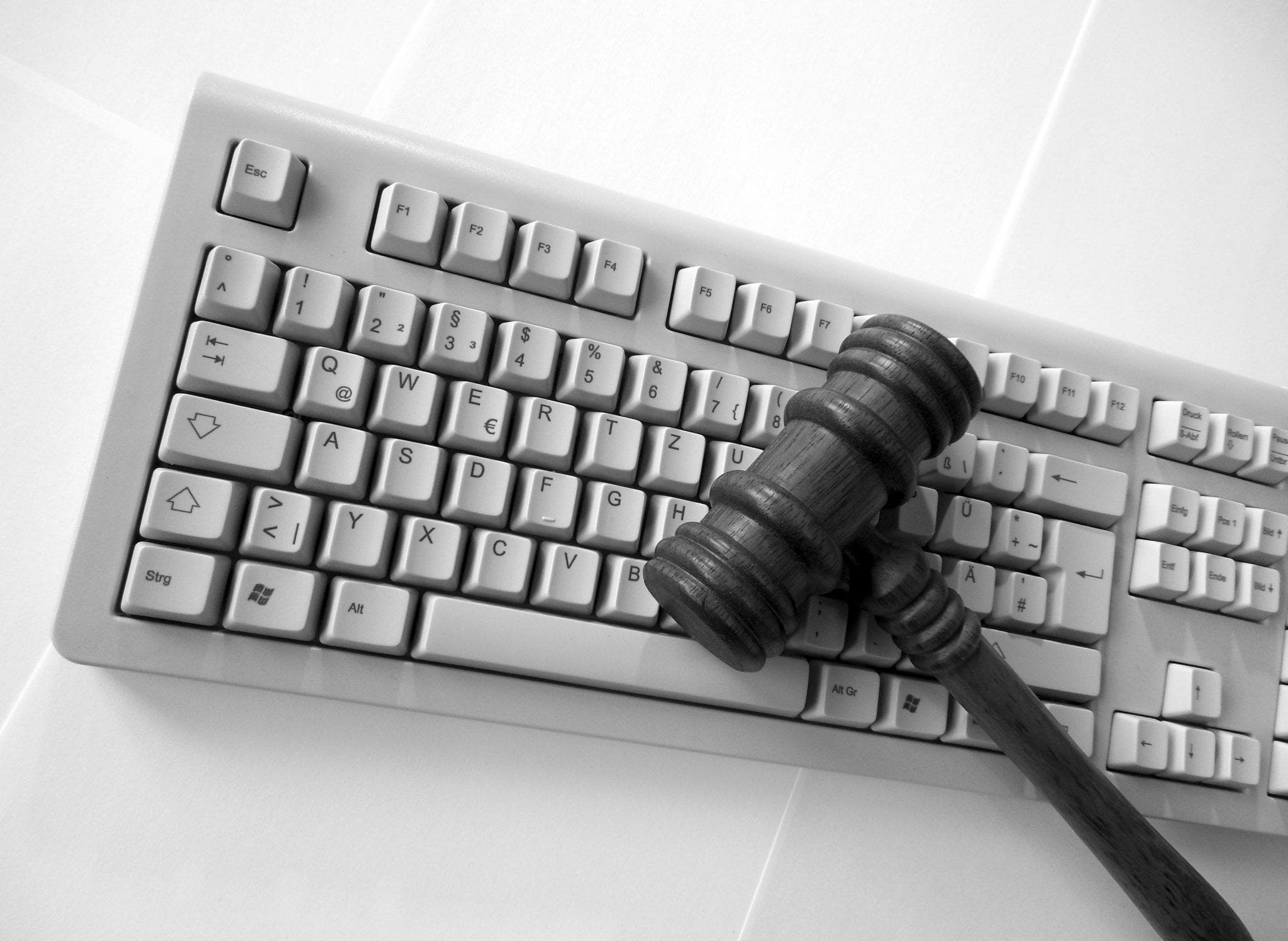 Keyboard and gavel; image via www.goodfreephotos.com CC0.