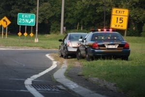 New York State Police Traffic Stop; image by dwightsghost, via Flickr, CC BY 2.0, no changes.