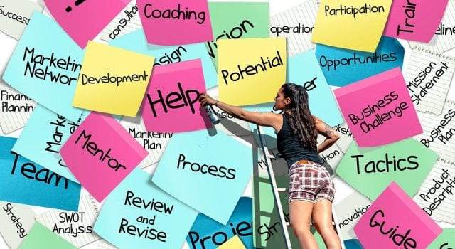 """Sticky notes with workplace terminology and a woman spray painting """"Help"""" on one note; image by Alexas_Fotos via pixabay, CC0."""