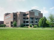 A photograph of the Law School Building located on the Michigan State University campus in East Lansing, Michigan. Image by the original uploader, Jeffness, at English Wikipedia; transferred from en.wikipedia to Wikipedia Commons; CC BY-SA 2.5, no changes made.