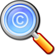 Image of a Magnifying glass with a copyright symbol inside
