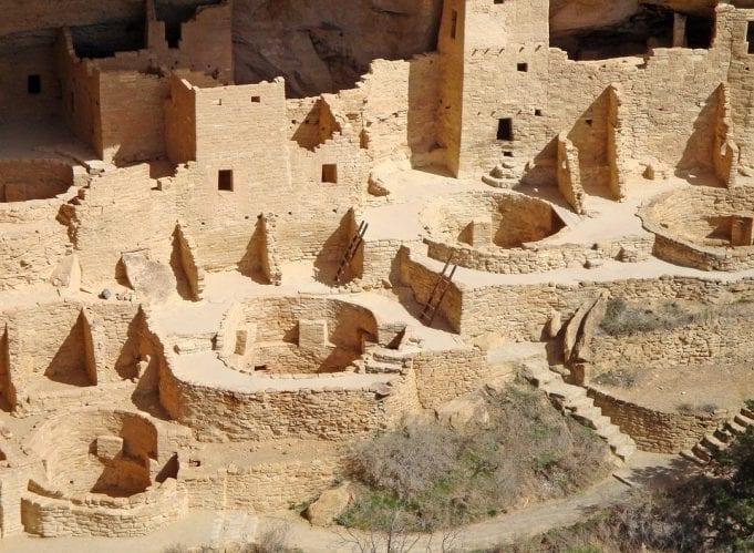 Ancient stone ruins of cliff dwellings at Mesa Verde National Park.