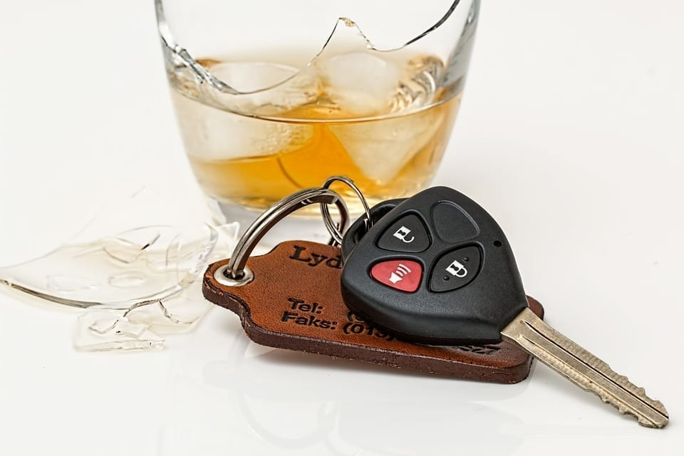 Image of alcohol and car keys