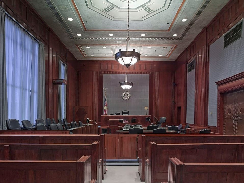 Image of an empty courtroom