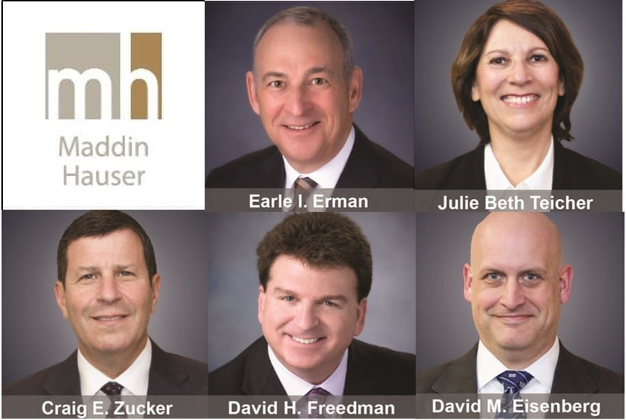 Composite image of Maddin Hauser logo (Facebook) and the firm's new attorneys (Press Release).