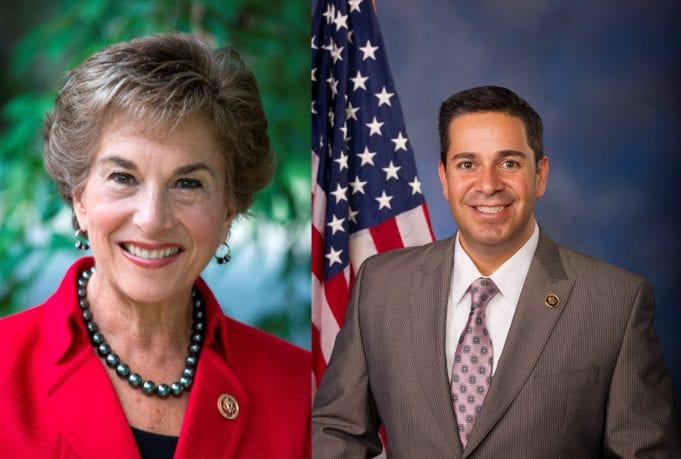 Congresswoman Jan Schakowsky (D-IL), Ranking Member of the House Digital Commerce and Consumer Protection Subcommittee (left), and Congressman Ben Ray Luján (D-NM) (right).